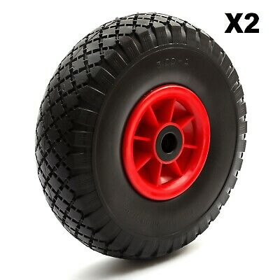 2x Fishing Trolley PU Tyre + Wheel 10 Inch 3.00-4 3.50-4 Puncture Proof Solid • 26.99£