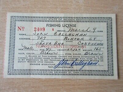 1948 USA Vintage Fishing License - State Of Nevada - Non Resident Permit • 4.99£