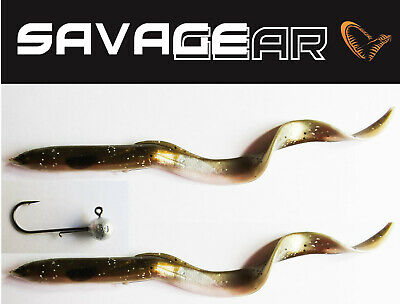 Savage Gear Real Eels 2 X 15cm + Jig Head - Curl Tail Soft Lures Pike Fishing • 4.95£