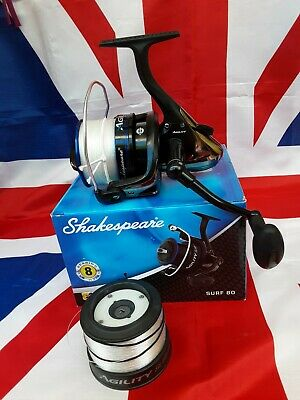 Shakespeare Agility Surf 80 Sea Fishing Fixed Spool Reel With Spare Spool  • 46£