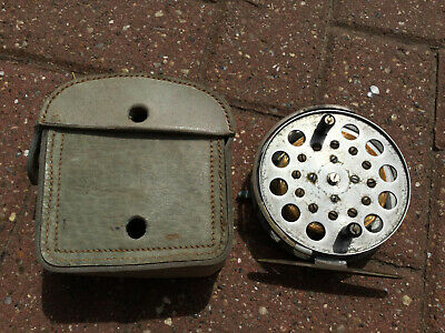 An Old Centerpin Fishing Reel With Leather Case. • 49.99£