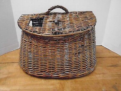 Vintage Creel Fishing Leather Wicker Basket Canvas Strap Trout Metal Large • 95.97£