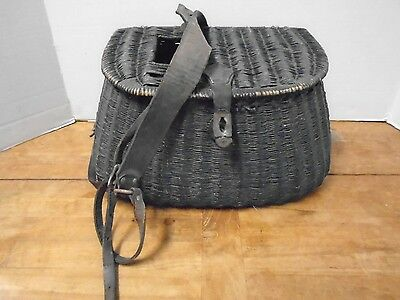 Vintage Creel Fishing Leather Wicker Basket Strap Trout Black • 80.61£