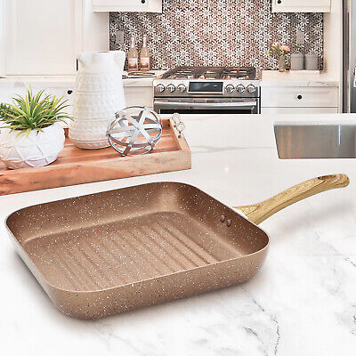 Square Grill Pan 28cm Fry Frying Marble Fish Non Stick Griddle Steak BBQ Skillet • 12.99£