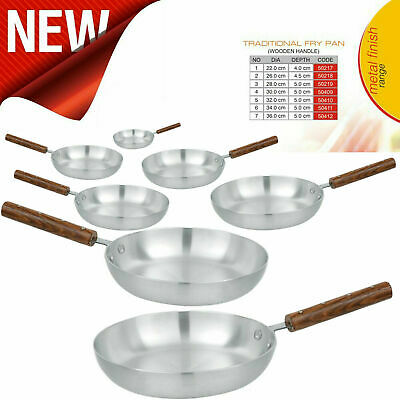 Super Aluminium Frying Pan Wooden Handle Best Quality Chef's Skillet Curry Pan • 15.43£
