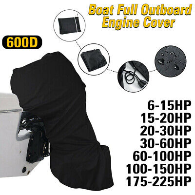 7 Sizes Full Motor Cover Waterproof Black 600D Boat Full Outboard Engine Cover • 28.99£
