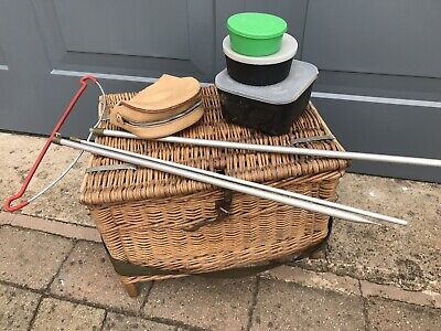 Vintage Fishing Basket With Strap And A Few Freebies As Shown • 19£