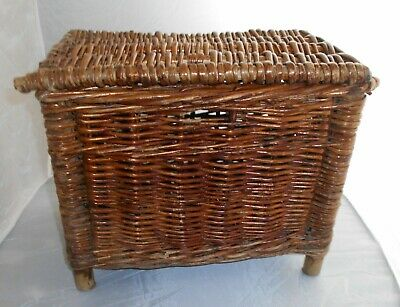 Vintage Woven Wicker Cane Fishing Creel Storage Basket • 9.99£