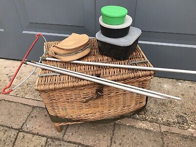 Vintage Fishing Basket With Strap And A Few Freebies As Shown • 17£