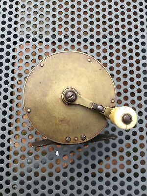 VICTORIAN BRASS FOLDING HANDLE WINCH FISHING REEL.1850/60s. • 99.99£