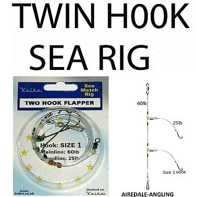Sea Fishing Tackle - Twin Hook Flapper Rig Size 2/0 Hooks  Cod Bass Flattie Rigs • 2.89£