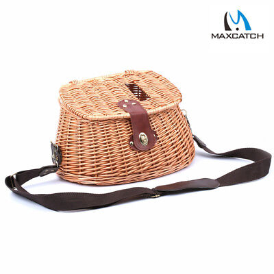 Creel Vintage Wicker Basket Fly Fishing Basket Willow With Strap Angler Tool • 22.70£