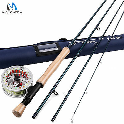 8WT 9FT Fly Rod And Reel Combo Fly Fishing Rod & Pre-spooled Aluminum Fly Reel • 73.04£