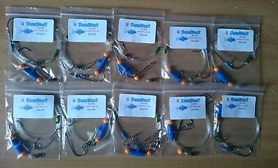 10 X Quality  Uptide Pennel Rigs - Made In Britain Cod  Conger Bass Rays • 13.49£