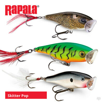Rapala Skitter Pop Lures - Pike Bass Chub Predator Surface Popper Fishing Tackle • 11.19£