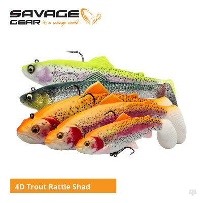 Savage Gear 4D Rattle Trout Shad Lures - Pike Zander Salmon Predator Fishing • 8.99£