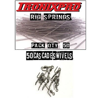 50 Tronixpro Rig Springs - SRT Springs + 50 Cascade Swivels Sea Fishing Tackle • 8.95£