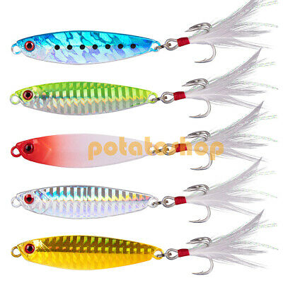 5X Hard Metal Lures 27g Spoon Jig Spinner With Feather Sea Fishing Long Casting • 8.99£