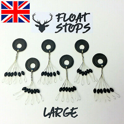 36x Round Sliding Float Stops Rubber Grippa Barrel Rig Buffer Line Braid Fishing • 2.99£