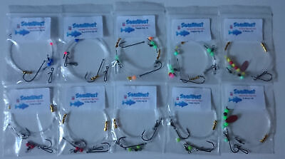 General Shore Sea Fishing Pack  X 10 Rigs- Good For All Species .Bass, Cod, Rays • 13.49£