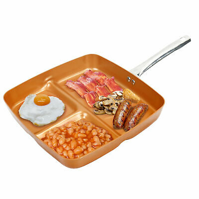 Frying Fry Pan 3-in-1 Copper Non Stick Grill Divider Easy Clean Cook Cookware • 11.99£