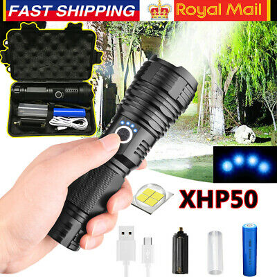 900000 Lumens High Power XHP50 LED Flashlight Rechargeable Zoom Torch Lamp Light • 12.98£
