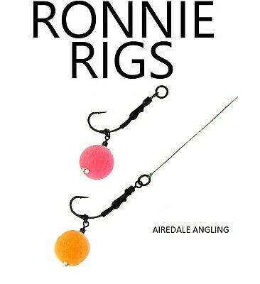 Carp Fishing Tackle - Pack Of 3 Ronnie Rigs Teflon Coated Curved Shank Sz 6 8 10 • 3.79£