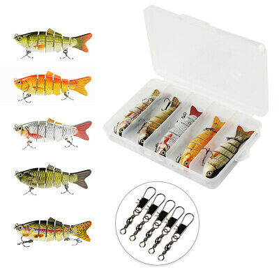 5PCS Fishing Lures Spinners Tackles Bait Pike Rubber Fish With Box&Connector Set • 9.96£