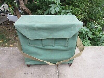 Efgeeco Tackle Bag Canvas Fishing Seat Box Vtg Creel Basket • 25£