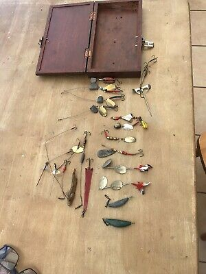 Job Lot -Vintage Lures ,Spinners (MEPPS ,DEPOSE ,PFLUEGER) Handmade Box & Lures • 35£