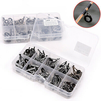 80Pcs Fishing Rod Guide Stainless Steel Tips Top Eye Rings Repair Kit With Box • 6.69£
