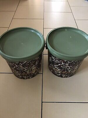 Carp Fishing 2 X Large Bait Buckets • 7.50£