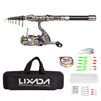 Telescopic Fishing Rod And Reel Combo Set Full Kit Spinning Reel Pole Bait Bag • 29.76£