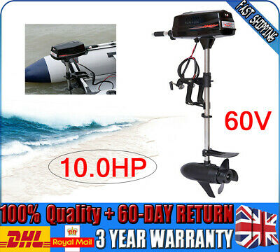 10 HP Heavy Duty Electric Outboard Fishing Boat Engine 2.2KW Brushless Motor 60V • 690£