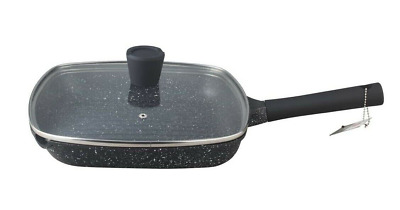 28cm Non Stick Grill Pan With Lid Granite Marble Coated Frying Pan Gas Inductio  • 24.99£