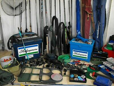HUGE COARSE CARP FISHING TACKLE SET UP JOB LOT Rods Reels Seatbox Nets Luggage • 275£