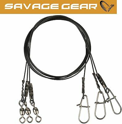 Savage Gear Black 7 Wire Trace 3pcs Per Pack Perch Pike Lure Fishing Crazy Price • 4.99£