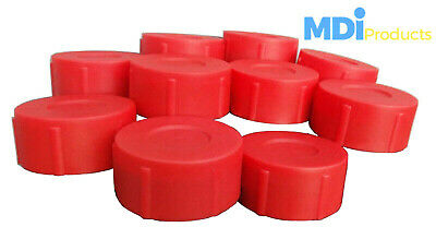 Pack Of 10 MDI Protective Plastic Rod Tubes 2.5in (6.3cm) Red End Caps • 6.95£