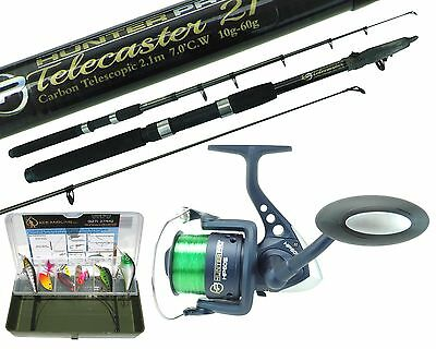 Pike Fishing Spinning Kit 6ft 8ft 10ft Carbon Telescopic Rod HP60S Reel Tackle  • 24.99£