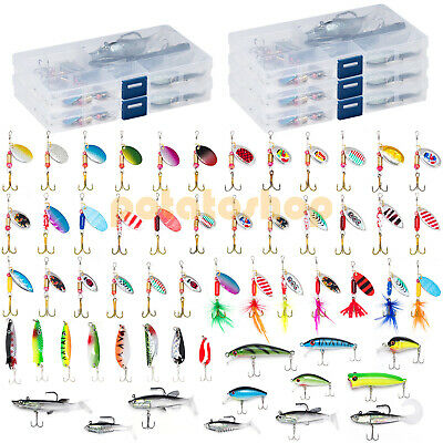 60 Fishing Lures Set Spinner Plugs Crankbait Perch Salmon Pike Trout Fishing • 28.99£