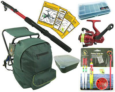 Complete Junior Beginners Fishing Kit Set Rod Reel Tackle Fishing Seat Ruck Sack • 32.99£