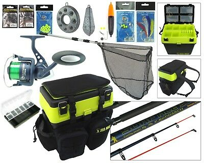 Complete Sea Fishing Kit Sea Fishing Rod & Reel Set + Seat Tackle Box Rucksack  • 79.99£