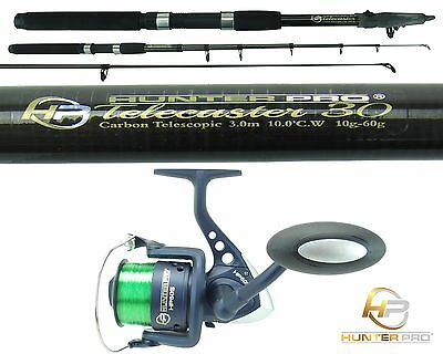 Telescopic 10ft Fishing Rod & Reel Carbon Travel Pike Bass Spinning Tele Rod  • 23.99£