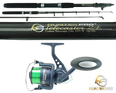 Telescopic 8ft Fishing Rod & Reel Carbon Travel Pike Bass Spinning Tele Rod  • 19.99£