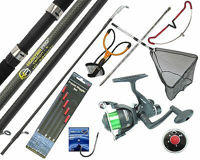 Starter Fishing Tackle Set Kit Hunter Pro Rod Reel Tackle Net Catapult Rod Rest • 36.99£