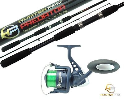 Pike Bass Spinning Rod & Reel. 2.1m Hunter Pro 2pc Rod & HP60S Reel With Line • 19.99£