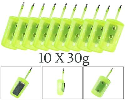 10 X 30g Swim Feeders Flat Blockend Swimfeeder Quality Swivels Easy Loading • 8.99£