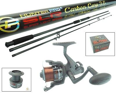 12ft Carbon Carp Rod & Reel Carp Combo Set. Bait Freespool Runner Spare Spool • 39.99£