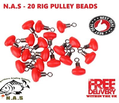 20pcs Fishing Bead Swivels Pulley Rig Beads With Rollering Swivels Connector RED • 3£