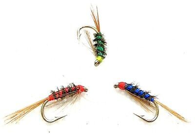 3 Hot Head DIAWL BACH Trout Flies UV Holographic Nymph Fly Fishing Size 10,12,14 • 2.50£
